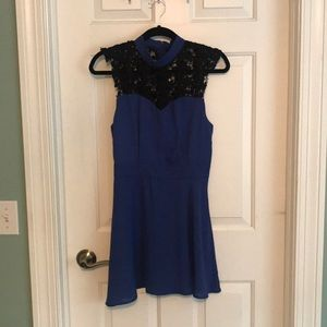 High neck blue cocktail dress (pitaya)